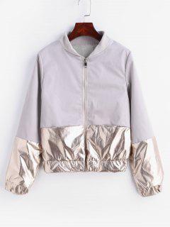 Metallic Zip Up Bomber Jacket - Light Gray M