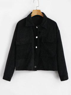 Single Breasted Corduroy Jacket - Black