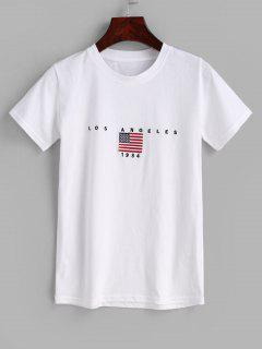 Flag Embroidered T-shirt - White