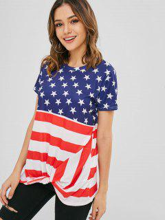 Short Sleeve American Flag Twist Tee - Multi Xl