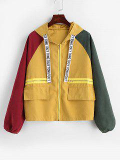 Zip Up Color Block Hooded Jacket - Multi L