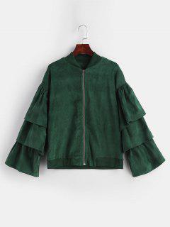 Zipper Tier Flounce Casual Jacket - Dark Green L