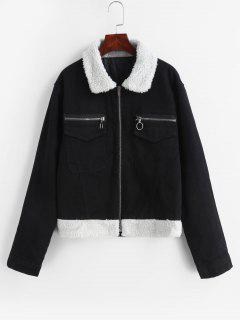 Zip Up Faux Fur Panel Jacket - Black M