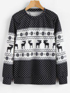 Dots Elk Snowflake Christmas Sweatshirt - Multi L
