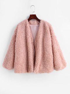 Open Drop Shoulder Fluffy Jacket - Pink