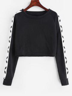 Color Block Raglan Sleeve Crop Sweatshirt - Black M