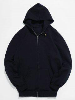 Solid Full Zip Pocket Fleece Jacket - Black L