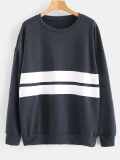 Drop Shoulders Stripe Sweatshirt - Dark Slate Grey Xl