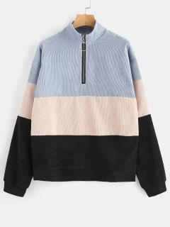 Zippered Color Block Corduroy Sweatshirt - Multi M