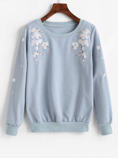 Pullover Flower Embroidered Sweatshirt - Silk Blue M