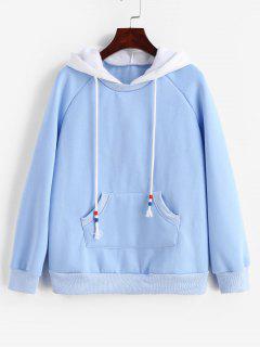 Fleece Raglan Sleeve Hoodie With Pocket - Silk Blue S