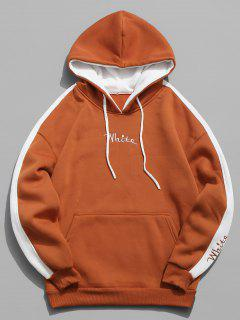 Color Clock Letter Printed Pullover Hoodie - Papaya Orange L