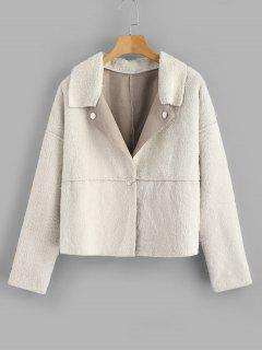 ZAFUL Sanp Button Plain Faux Fur Jacket - Beige Xl