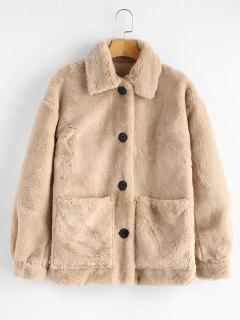 ZAFUL Button Up Pockets Faux Fur Coat - Apricot L