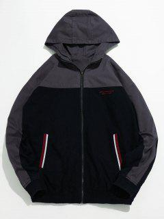 Casual Contrast Hooded Jacket - Black 2xl