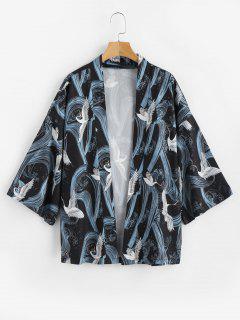 Crane Print Kimono Cardigan - Black 2xl