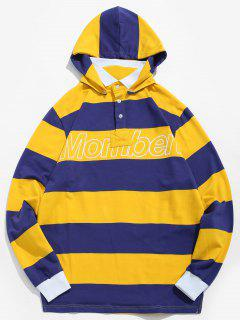 Stripe Letter Polo Shirt With Detachable Hood - Yellow Xl