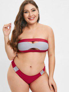 ZAFUL Two Tone Bralette Plus Size Bikini Set - Red 3x