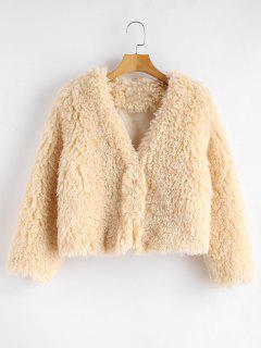 ZAFUL Hook Fluffy Faux Shearling Teddy Coat - Champagne S