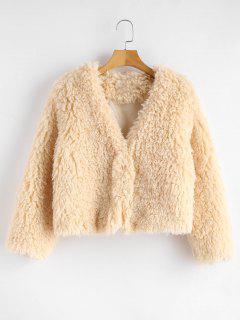 ZAFUL Crochet Fluffy Faux Shearling Coat - Champagne L