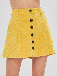 ZAFUL Button Up Mini Corduroy Skirt - Golden Brown M
