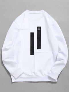 Splicing Stripes Embellished Sweatshirt - White S