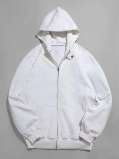 Solid Full Zip Pocket Fleece Jacket - White L