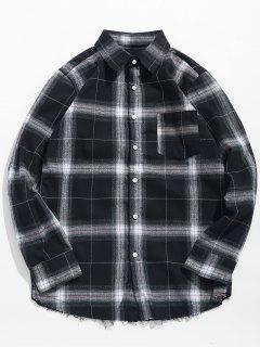 Legeres, Langärmliges, Kariertes Hemd Mit Button Up - Kohle Grau S
