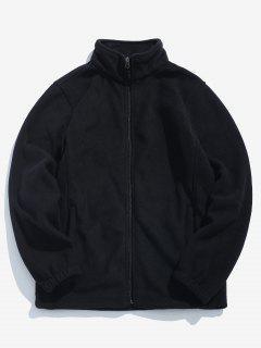 Zipper Solid Casual Coat - Black S