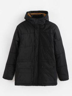 Solid Padded Hooded Jacket - Black Xl