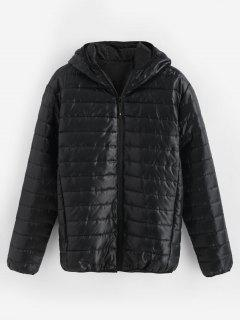 Solid Quilted Hooded Jacket - Black S