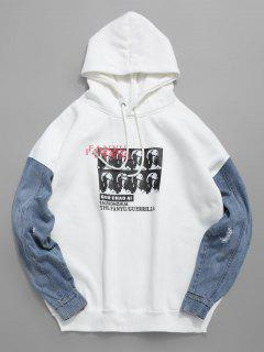 Denim Patchwork Graphic Fleece Hoodie - White Xl