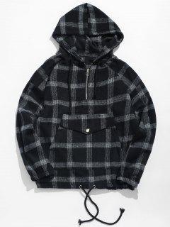 Half Zipper Pocket Plaid Hoodie - Black 2xl