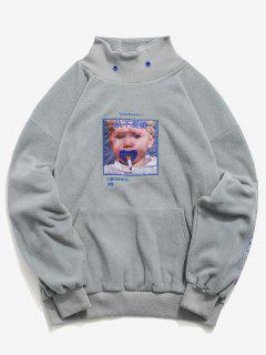 Letter Graphic Fluffy Sweatshirt - Gray M