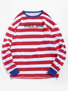 Camiseta De La Raya De La Letra Camiseta - Rojo L