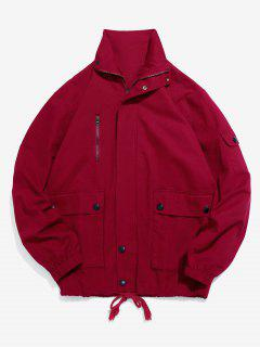 Flap Pockets Solid Casual Jacket - Red Wine Xl