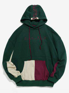 Contrast Pouch Pocket Embroidery Hoodie - Dark Green 2xl