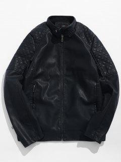 Veste Zippée En Cuir PU Avec Poches - Noir S