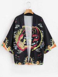 Phoenix Print Kimono Cardigan - Black 2xl