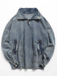 Retro Pocket Pullover Denim Jacket - Denim Blue M