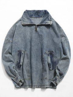 Retro Pocket Pullover Denim Jacket - Denim Blue Xl