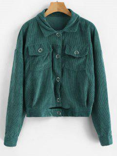 Cut Out Single Breasted Corduroy Jacket - Greenish Blue M
