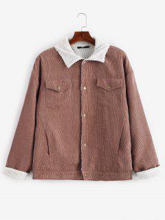 ZAFUL Retro Faux Fur Lined Corduroy Jacket - Brown L