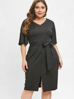 Plus Size Belted Slit Fitted Dress - Black 4x