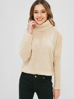 Dolman Sleeves Turtleneck Cable Knit Sweater - Beige