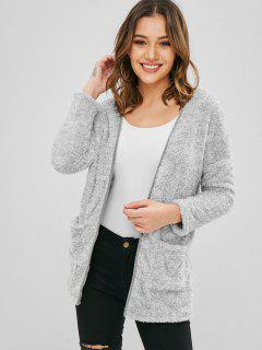 ZAFUL Pockets Open Front Fluffy Teddy Coat - Gray Cloud S