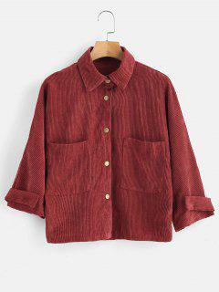 Front Pockets Corduroy Jacket - Cherry Red M