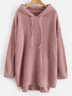 High Low Hem Hooded Knitted Dress - Pink