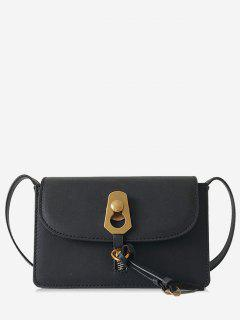 Metal Lock Cover Design Shoulder Bag - Black
