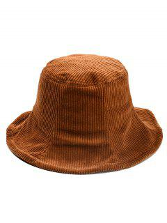 Winter Striped Corduroy Bucket Hat - Coffee